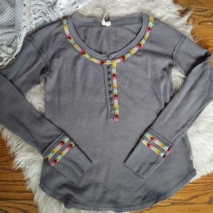 Free People grey embroidered thermo long sleeve